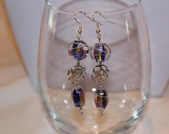 Earrings, Long Blue and Silver Dangle Earrings, Long Earrings, Blue and Silver Earrings, Unique Earrings, Unique Jewelry, Glass Jewelry