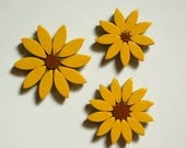 Sunflower Magnets, set of 3 polymer clay refrigerator magnets