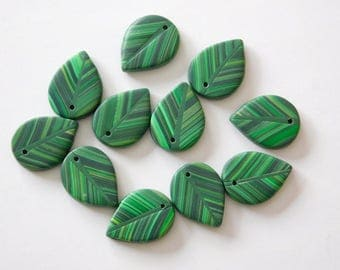 Green Leaf Charms, polymer clay leaves, top drilled beads