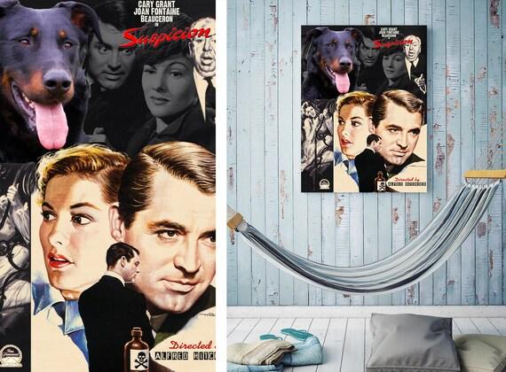 Beauceron Dog Vintage Painting Movie Canvas Wall Art Beauceron Print Beauceron Art Suspicion Movie Poster Nobility Dogs