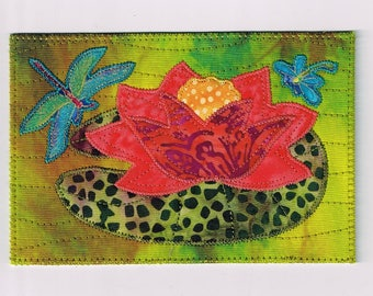Dragonfly Waterlily Birthday Mom Friend Postcard MADE TO ORDER Him Her Child Hi Frame Gift ThankYou Housewarming Quilted Fabric Postcard 4x6