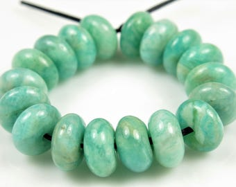 Natural African Amazonite Rondelle Bead - 7.5mm x 4mm - 18 beads - B7280