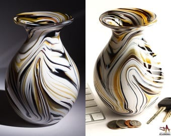 Hand Blown Glass Vase - Bulbous Shape with White and Brown Swirls