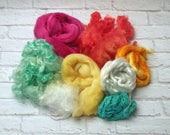 "Card it Up Kit with fibers for carding, spinning, felting or weaving 4 ounces in ""Summer Citrus"" Aquas, Pink, Yellow, Salmon, White"