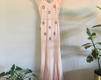 1930s Dress / Rhinestone Netting Dress / 1930s Lace Dress / 1930s pink Gown / Glamourous Gown / Small / Extra Small XS