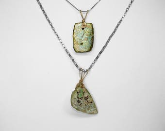 Roman Glass Pendant in Gold, Choice of 2