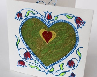 Valentines Card, handprinted with hearts, flowers  love birds and decorative paper