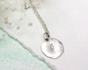Personalized Sterling Silver Initial Disc Necklace, Hammered Initial Disc Necklace, Single Initial Necklace, Small Initial Disc Necklace