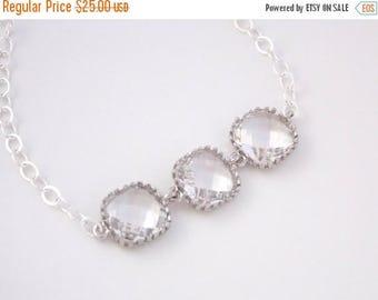 SALE Glass Bracelet, Crystal Bracelet, Sterling Silver Bracelet, Clear Bracelet, Wedding Jewelry, Bridal, Bridesmaids Bracelet, Bridesmaid G