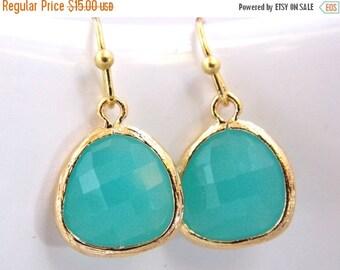 SALE Glass Earrings, Gold Mint Earrings, Aqua Earrings,Aqua Blue, Bridesmaid Earrings, Bridal Earrings Jewelry, Bridesmaid Gifts