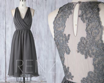 2017 Charcoal Gray Chiffon Bridesmaid Dress, Short Ruched V Neck Wedding Dress,Lace Illusion Back Party Dress,A line Formal Dress Knee(L323)