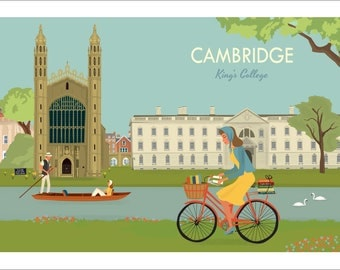Cambridge A4 Giclée -  Kings College Chapel from The Backs
