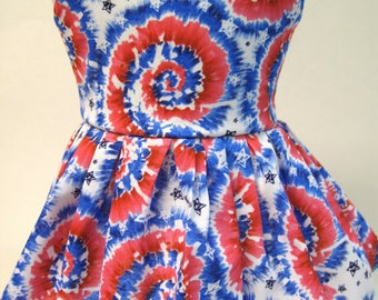 Patriotic Tie-Die, Sleeveless Dress for your 18 Inch Doll C