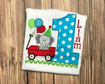 Red Wagon with Elephant,Balloons and Number Embroidered and Personalized Birthday Shirt