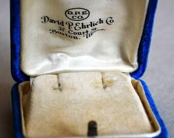 antique blue velvet earring box