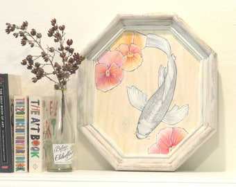Koi and Flowers, on framed wood panel