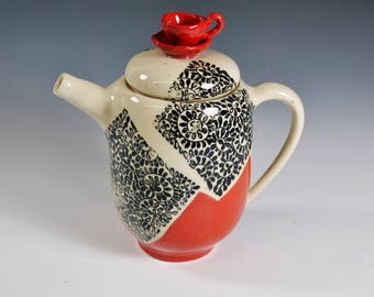 Handmade Ceramic Teapot,  Wheel thrown teapot, Unique Teapot