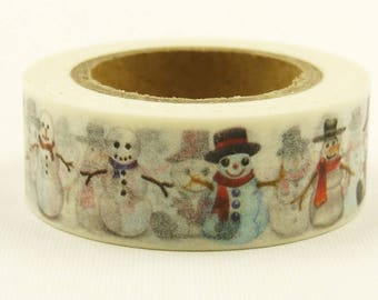 Snowman - Japanese Washi Masking Tape - 11 Yard