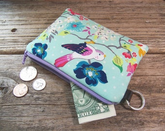 Change purse- Coin purse -  small zipper wallet in aqua with a bird has a keyring ,will fit all your cards and change.