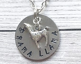 Llama Necklace Disc, Sterling Silver Necklace Llama, Pendant Necklace For Women, Hand Stamped Jewelry Quote, Sterling Silver Llama Necklace