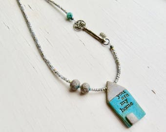 Home - handmade artisan bead necklace with handmade polymer house focal, handmade pewter key in turquoise and grey - Songbead, UK