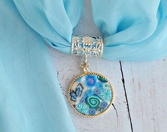 Sale!!Blue Scarf jewelry, Elegant scarf necklace, Fashion scarf, Ladies gift Scarf with slide, Scarf slider pendant, Trendy scarves