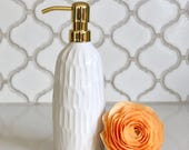 Carved Soap Bottle - Modern Home Decor - Creamy White - Gold or Stainless Pump - READY TO SHIP