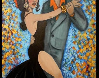 "SALE Enormous ""Latin Nights""Figural  Dancers  oil painting,Wall Art,Wall Decor by Nicolette Vaughan Horner"