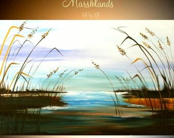 SALE ORIGINAL  Marsh scene with sea oats Abstract  gallery Contemporary Modern Winter Marsh Oil painting by Nicolette Vaughan Horner
