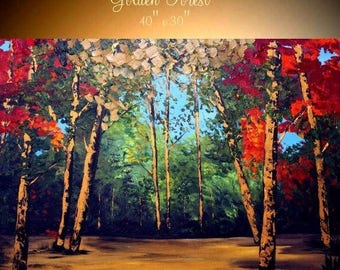 "SALE Oil Landscape  Abstract Original Modern 40"" palette knife Birch Trees  impasto oil painting by Nicolette Vaughan Horner"