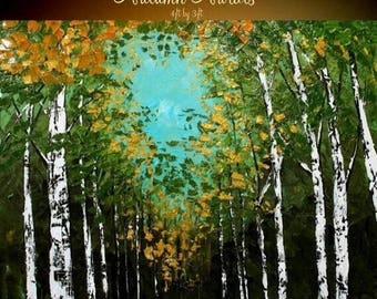 "SALE HUGE Birch Trees Oil Landscape Abstract Original Modern 48"" palette knife oil  impasto oil painting by Nicolette Vaughan Horner"