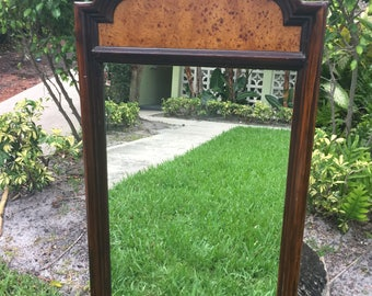 BURL WITH A CURL / Unique Moroccan Style Burl Inset Vertical Mirror / Entry Mirror / Almost 4 Ft. Tall / Exotic Decor