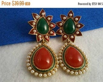 On Sale Vintage Jewels of India Style Dangle Earrings ** 1970's Runway Green & Red Collectible Jewelry