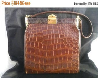 Now On Sale Real Alligator Handbag, Mid Century 1960's Vintage Leather High End Purse