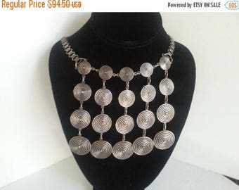 Now On Sale Vintage Bib Necklace, Statement Jewelry, Mid Century Collectibles, Mad Men Mod, Retro Rockabilly Accessories, 1960's 1970's