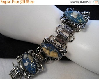 ON SALE Vintage Chunky Blue Shell Glitter Bracelet,  1950's 1960's Collectible High End Jewelry