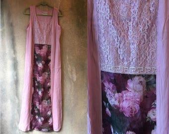 Pink PASTEL Floral Crepe Gauze Sleeveless Fancy Shabby Chic Maxi Dress Large