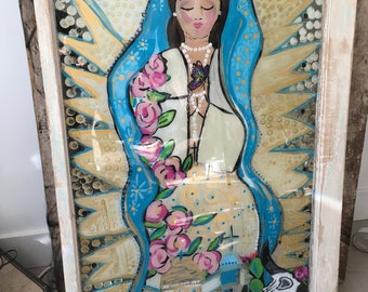 our Lady of Guadalupe paint on glass.