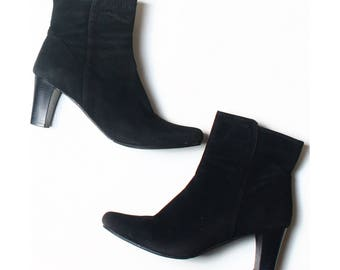 Vintage Style Black Faux Suede Ankle Boots UK 7 US 9.5 EU 41