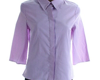 Vintage 90s Gina Benotti Purple Lilac White Gingham Fitted Shirt UK 10 US 8