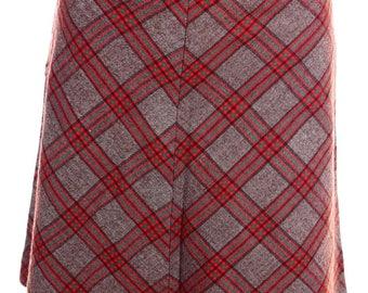 Vintage 70s Brown Red Diamond Checked Kilt Skirt UK 6 US 4