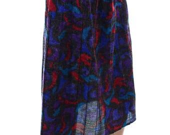 Vintage 80s Crimson Purple Black Winter Fuzzy Pleated Midi Skirt UK 16 18 US 14 16