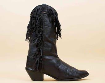 80s Vtg Black Genuine Leather WESTERN Fringe Cowboy Boots / Pointy Toe Chunky Stacked Heel sz 11 10.5 Eu 42.5
