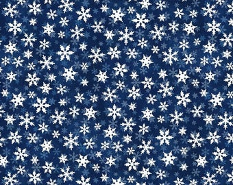 12% off thru July ESSENTIALS SNOWFLAKES white on navy blue cotton print by the yard Wilmington fabric-68782-414- winter, Christmas