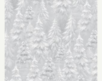 20 % off thru 8/20 WOODLAND WONDER-by the Yard by QT fabrics-grey silver white snowy pine trees-Christmas~24526-k