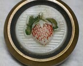 Delicious Antique Picture Button ~ Strawberry Fruit in Molded Painted White Milk Glass ~ Brass Drum Setting ~ 1 inch 25mm ~ Grammys Buttons