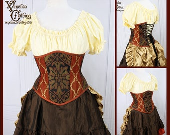 Steampunk Russet, Black, Olive, & Gold Steel Boned Corset - You Choose Your Corset Style - Custom Sized