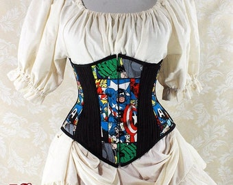"HALF OFF Captain America Cotton Print Patchwork Waspie Underbust Corset w/Front Busk -- Size 20, Fits Waist 23""-25"" - Ready to Ship"