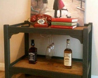 Vintage Upcycled Refinished Oak Drinks Table/Wine Table/Side Table Dark Grey and Waxed Oak