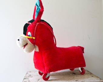 Vintage Babies Toddler Rolling Donkey Scooter Ride-On Horse Wheels Ride On Toy Plush